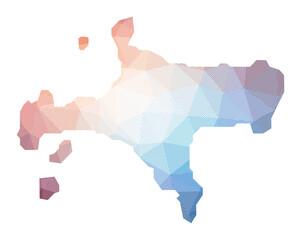 Fototapeta Map of Ko Mak. Low poly illustration of the island. Geometric design with stripes. Technology, internet, network concept. Vector illustration. obraz