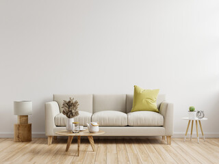 Fototapeta Living room interior wall mockup with sofa with decor on white background. obraz