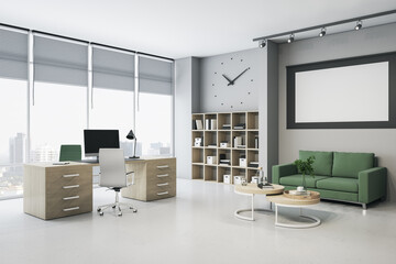 Obraz Light office interior with bright city view, clock, furniture, bookcase, empty white poster and decorative items. Mock up, 3D Rendering. - fototapety do salonu
