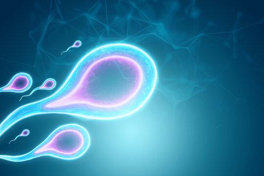 Fertilization of the egg by sperm cells. Pregnancy, infertility treatment, motherhood. 3D illustration, 3D render