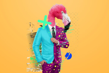 Modern design, a human body in a bright business suit with a flamingo head, confidence. Bright...