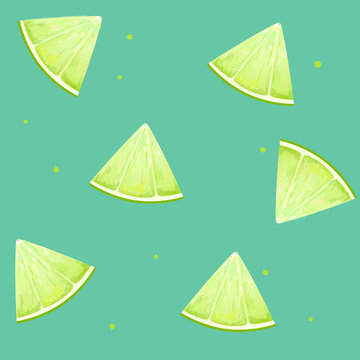 Pattern with lime. Vector Illustration.