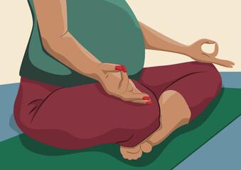 Obraz Biała kobieta w ciąży medytująca w pozycji lotosu. Troska o zdrowie w ciąży, zdrowy ruch, oddech, relaks. Przygotowanie do porodu. Wektorowa ilustracja. - fototapety do salonu