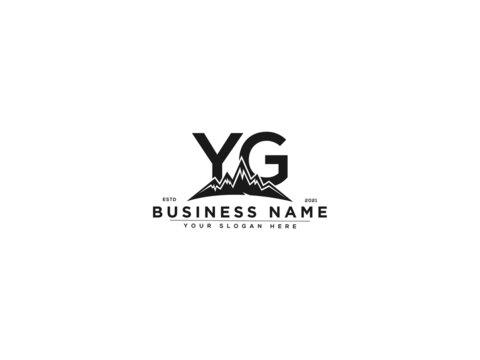 Letter YG Logo, line art yg mountain logo icon vector for river forest hill landscape typography image design