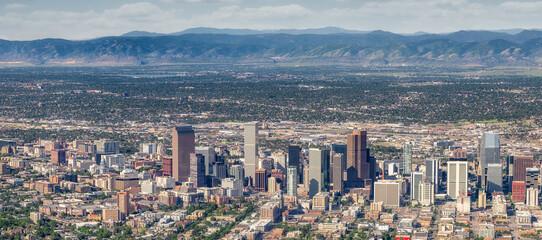 Fototapeta Skyline of Denver Colorado seen from above with the Rocky Mountains obraz