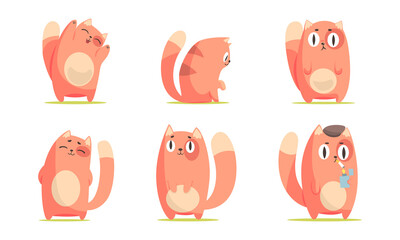 Obraz Cute Red Cat Character Smiling and Smoking Cigarette Vector Set - fototapety do salonu