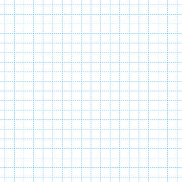 Seamless pattern of blue mathematical square cells from dashed lines. Vector math paper grid engineering blueprint background
