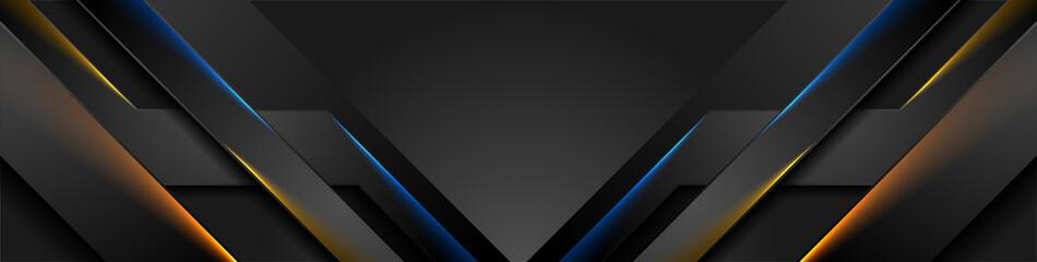 Fototapeta Abstract black stripes with blue orange neon glowing light. Vector technology banner design obraz