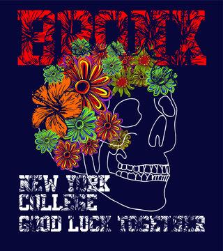 New York Bronx flower and skull graphic design vector art