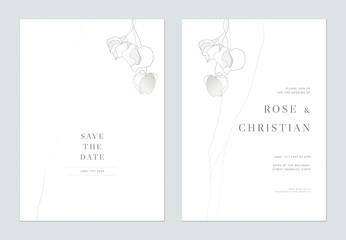 Fototapeta Minimalist foliage wedding invitation card template design, wild flowers line art ink drawing on white obraz