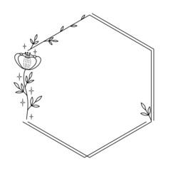 Obraz Dekoracyjna ramka z kwiatem i gałązkami z liśćmi w prostym stylu do wykorzystania na karty, voucher, życzenia i zaproszenia ślubne. - fototapety do salonu