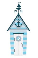 Fototapeta Beach house. Hut on the coast. Vector flat illustration. obraz
