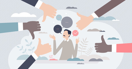 Obraz Giving feedback and make decision from ratings or reviews tiny person concept. Choice between positive or negative gesture vector illustration. Thumbs up or down as satisfaction evaluation symbol. - fototapety do salonu