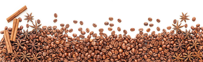 Roasted coffee beans background isolated on white