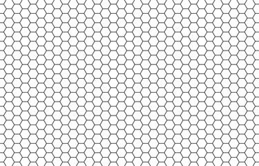 Fototapeta Honey hexagon bee hive honeycomb pattern seamless black and white background vector obraz