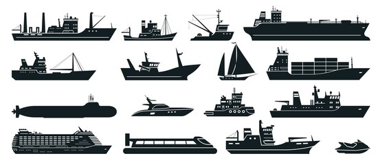 Obraz Ships silhouette. Cargo ship with shipping containers, tourist cruise ship, commercial fishing vessel, yacht. Water transportation vector set. Liner for voyage, fisher boat, water scooter - fototapety do salonu