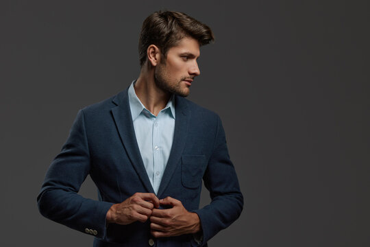 Profile of young focused european business man