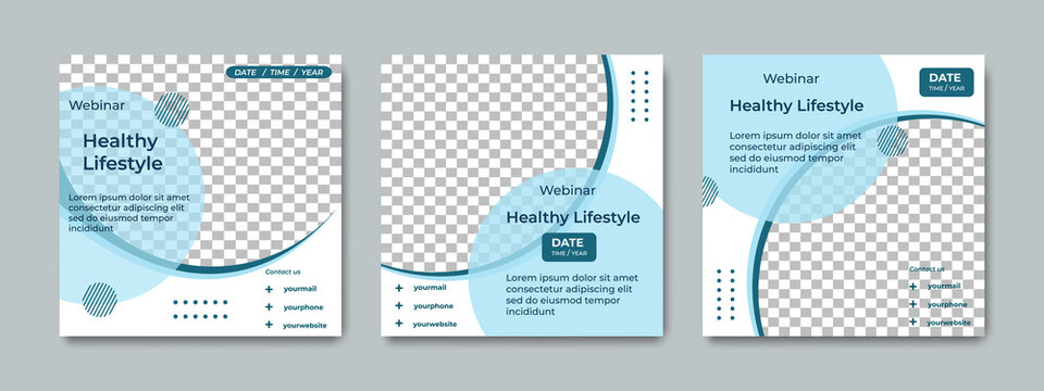 Set of creative social media post templates. Suitable for health webinars, health poster, business webinar, online classes and other online seminars.
