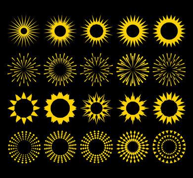 Stylized sun shapes collection. Set of yellow burst contour sunrise, sunburst, firework on black. Set of vintage light explosion, retro sun rays design elements. Jpeg