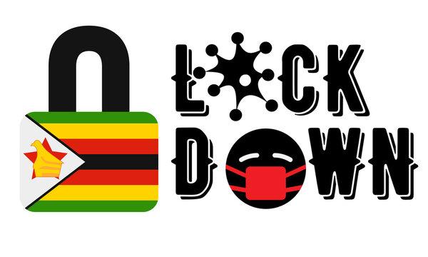 Zimbabwe Lockdown for Coronavirus Outbreak quarantine. Covid-19 Pandemic Crisis Emergency. Zimbabwe flag lockdown concept illustration on white background
