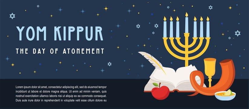 banner for Jewish holiday Yom Kippur and New Year, rosh hashanah, with traditional icons. banner with traditional Jewish New Year symbols, apple, honey, shofar and ancient prayer book. Vector
