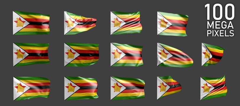 14 various images of Zimbabwe flag isolated on grey background - 3D illustration of object