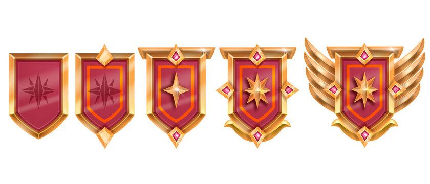 Golden game badge, vector rank medal award set, medieval level up shield achievement, red crystal, wings. UI RPG winner congratulation reward sign, rating royal emblem. Treasure game badge on white