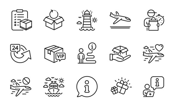 Transportation icons set. Included icon as Arrivals plane, 24 hours, Lighthouse signs. Hold box, Cancel flight, Parcel checklist symbols. Return package, Ship travel, Gift. Vip parcel. Vector