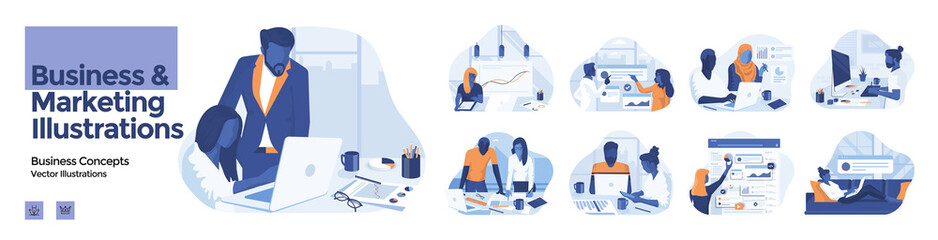 Modern colorful Business and Marketing illustration