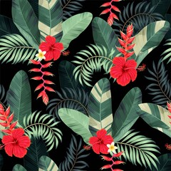 Pattern with red flowers and palm leaves