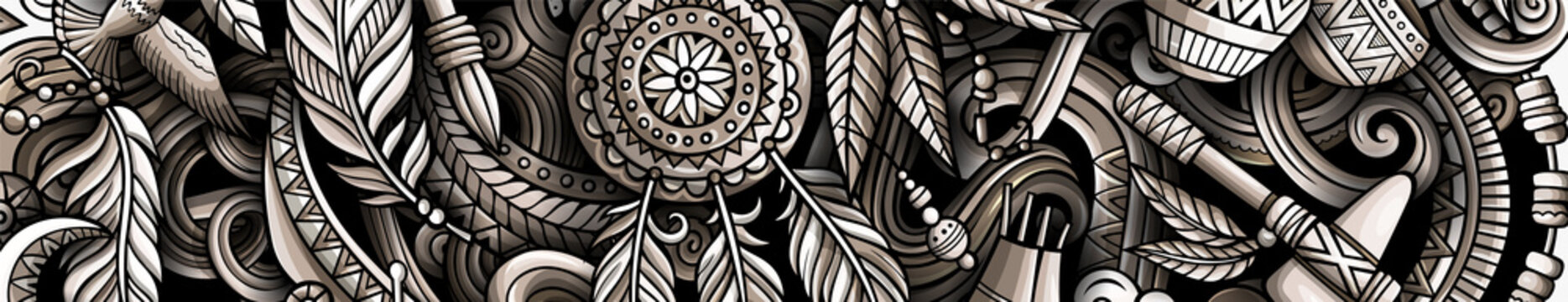 Native American hand drawn doodle banner. Cartoon vector detailed flyer. Illustration with ethnic objects and symbols. Graphics horizontal background