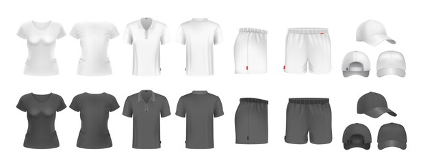 Obraz Realistic sport uniform mockup. Male female t-shirt shorts and caps. Black and white sportsmen wear. Isolated undershirt and underpants vector set - fototapety do salonu