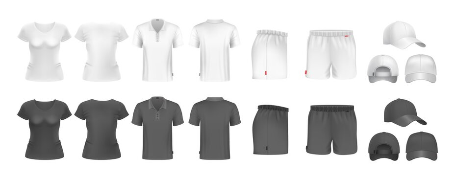 Realistic sport uniform mockup. Male female t-shirt shorts and caps. Black and white sportsmen wear. Isolated undershirt and underpants vector set