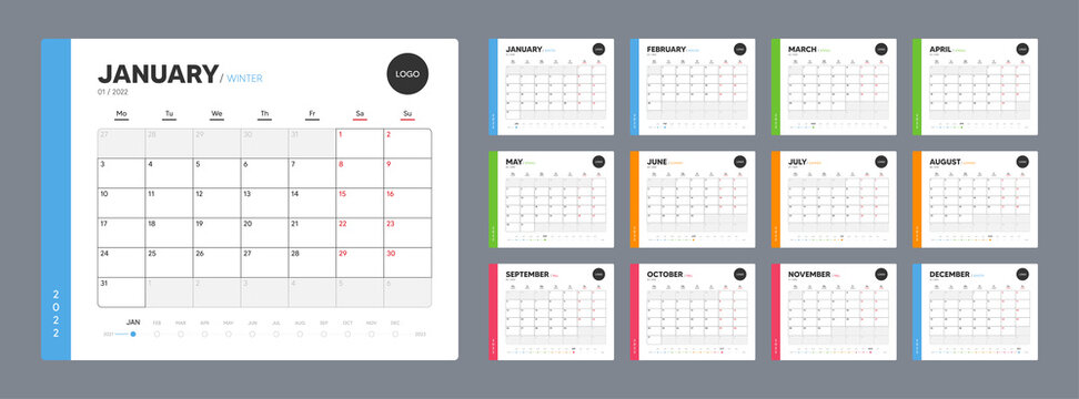 Calendar template for 2022 year. Annual diary planner schedule in minimal design. Corporate calendar, business planner. 2022 calendar for events. Holiday diary template. Week starts on Monday. Vector