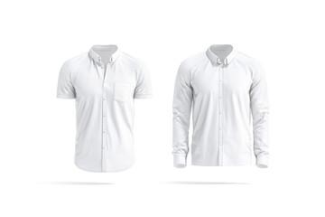 Fototapeta Blank white short and long sleeve men shirt mockup, isolated obraz