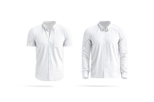 Blank white short and long sleeve men shirt mockup, isolated