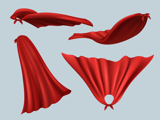 Obraz Hero red cape. Masquerade textile costume cape from silk fashion clothes with creases templates for superheroes decent vector realistic mockup - fototapety do salonu