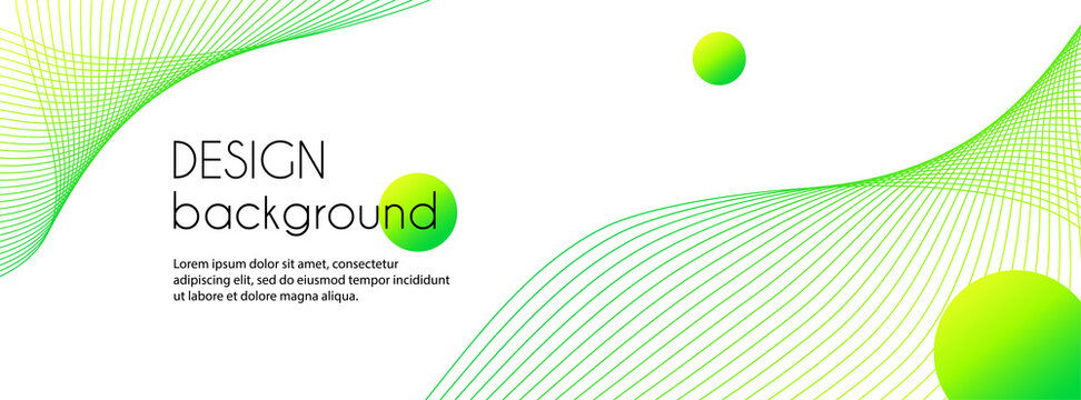 Vector abstract long banner with green wavy lines. Minimal trendy background for facebook cover, web header design