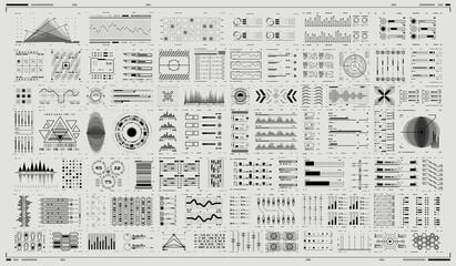 Fototapeta Digital dashboard panel illustration. Futuristic virtual graphic. Infographic elements. Abtract Header Status Bar. Set of Sci Fi Modern User Interface Elements. HUD UI for Business App. obraz
