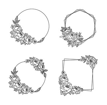 Peony flower frame bundle, Floral wreath with peonies, botanical monogram circle frame, black and white bouquet clipart, isolated elements vector compositions