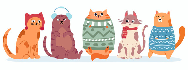 Obraz Cute cats in sweater. Happy fat kittens for new year and christmas vector banner. Xmas domestic kitty in scarf - fototapety do salonu
