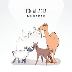 Obraz Islamic festival of sacrifice, Eid-Ul-Adha Mubarak background with camel, sheep, goat outside of mosque. - fototapety do salonu
