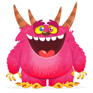 Funny cartoon furry monster character. Illustration of cute and happy mythical alien