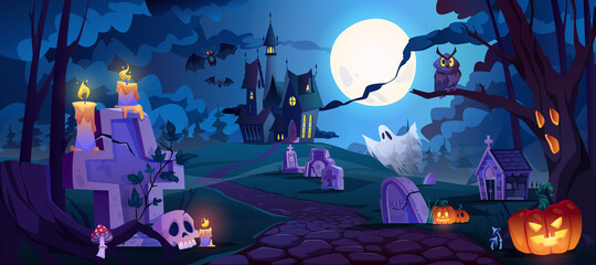 Fototapeta Graveyard and high spooky castle on top, cemetery with skulls and candles, pumpkins with lights and ghosts. Halloween landscape scene, small boneyard with tombstones and dry trees. Cartoon vector obraz