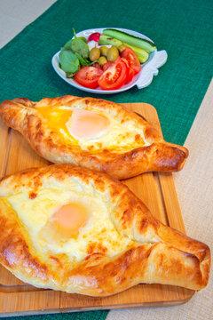 Georgian cheese pie adjaruli khachapuri