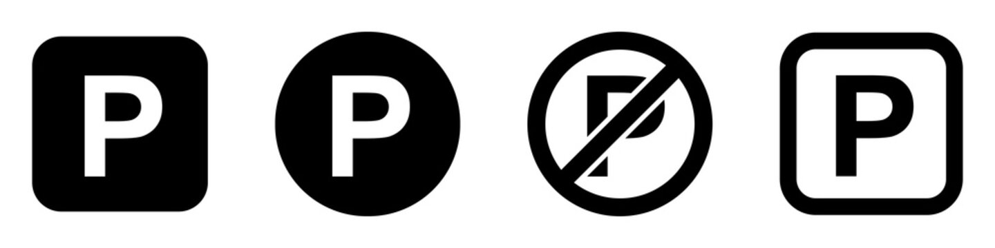 Set of parking signs. Car parking icons. Road signs, street, vector.
