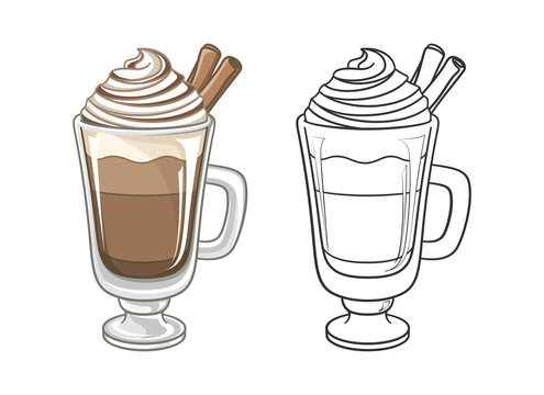 Chocolate beverage drink with whipped cream and cinnamon in tall glass mug clipart. Outline and colored vector illustration set. Coloring book page element activity for kids and adults.
