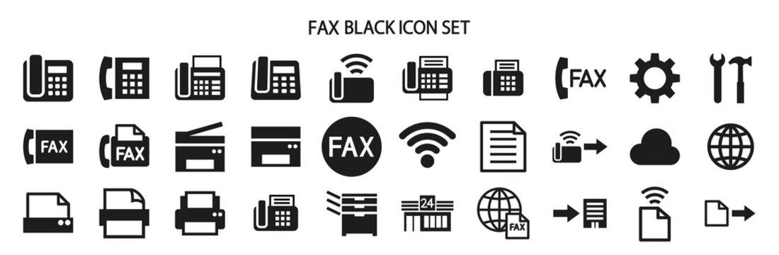 ファックスやプリンターに関連したアイコンセット