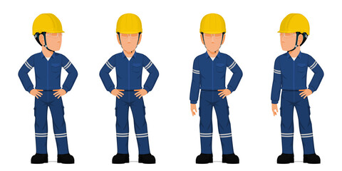 Fototapeta Set of industrial worker with arms akimbo on white background obraz