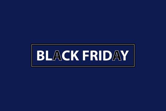 Black Friday illustration for sale production elements. Online shop store label, Poster, banners, billboard, product promotion, and branding. Weekend offer for black Friday. Blue background.
